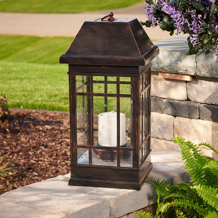 San Rafael Estate Solar Mission Lantern: Ambient lighting for your patio, deck or garden. Built to last and withstand the elements. Made with all weather poly plastic with real seeded glass. #Solar #SolarLantern #Lantern #DecorativeLighting #OutdoorLighting
