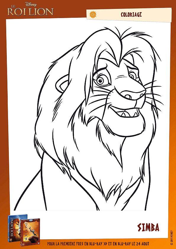 Les 25 meilleures id es de la cat gorie coloriage le roi lion sur pinterest lion coloriage - Le roi lion a colorier ...