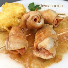 Esta receta de rollitos de pollo en salsa es muy fácil, con pocos ingredientes sencillos. La presentación del plato es muy vistosa para ocasiones especial