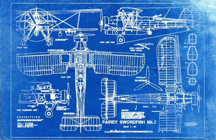 Blueprint Art of Plane Fairey Swordfish Mk2 Technical ...