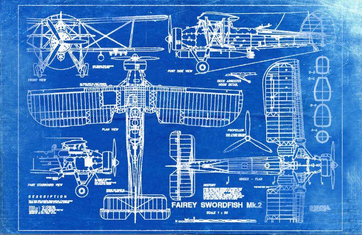Blueprint Art of Plane Fairey Swordfish Mk2 от BigBlueCanoe