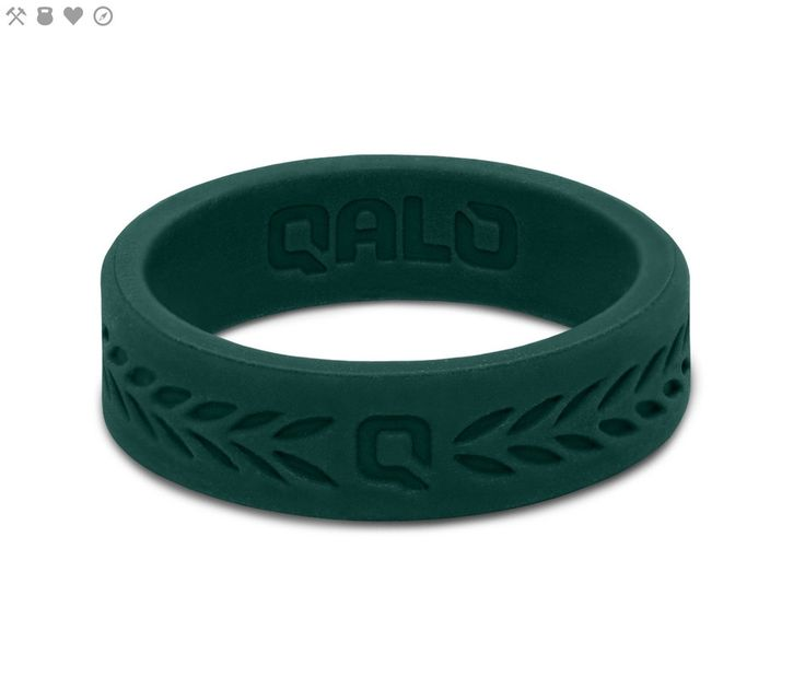 Women's Jade Green Laurel Q2X™ Silicone Ring from QALO