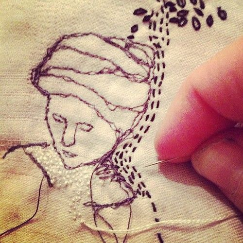 Milliande tekenen met textiel - ook hier verschillende soorten lijnen: dik dun, stippel, onderbroken, golvend, zigzag...