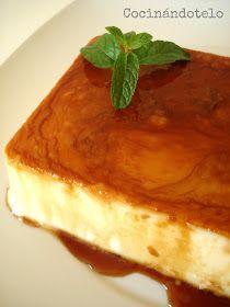 FLAN DE QUESO MASCARPONE (Sin huevos ni horno): 250 g de queso mascarpone, 200 ml de nata, 125 ml de leche, 100 g de azúcar, 1 sobre de cuajada. Llevamos al fuego todos los ingredientes y vertemos en un molde bañado con caramelo líquido. Enfriamos y servir.