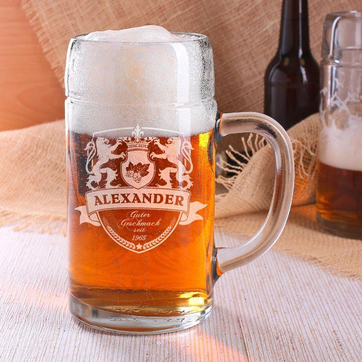 1 Liter Maßkrug aus Glas graviert mit Wappen und Namen