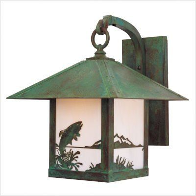"""Arroyo Craftsman TRB-TR Timber Ridge Outdoor Wall Lantern with Trout Filigree by Arroyo Craftsman. $391.66. Arroyo Craftsman TRB-TR Features: -Timber Ridge collection. -Available in several finishes. -Available in several shade colors. -UL listed. -Suitable in damp location. Specifications: -Accommodates: 1 x 100W medium incandescent bulb. -Available sizes:. -19.5"""" Overall dimensions: 19.5"""" H x 16"""" W x 19.5"""" D. -Mounting base: 11"""" H x 5"""" W. -Mounting center to top: 7"""". -Arm: 0...."""