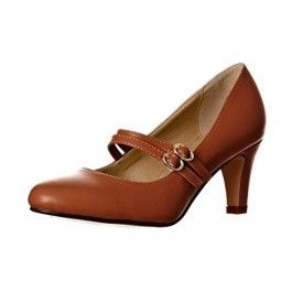 How about this shoe?  Share to get a coupon for all on FSJ Brown Mid Heel Women's Mary Jane Pumps Vintage Heels