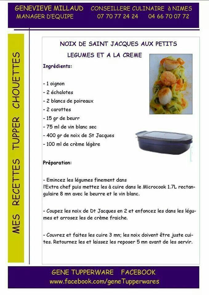 Plat - Noix de saint jacques aux petits légumes et à la crème - Tupperware