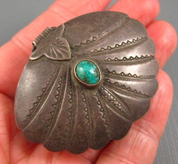 Old Pawn Fred Harvey Navajo Sterling Turquoise Clam Shell Hinged Box Rare Design
