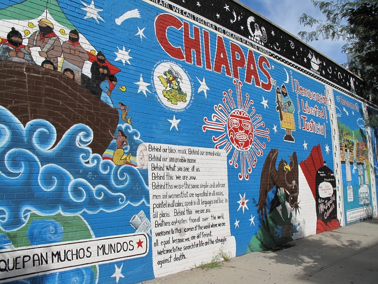 Zapatista mural created by el guerro in 2001 located for Mural zapatista