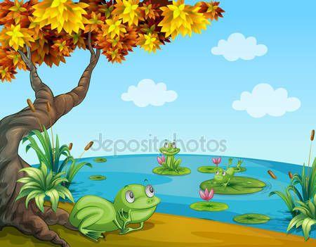 Pobieraj - Trzy zielone żaby w stawie — Ilustracja stockowa #20713933
