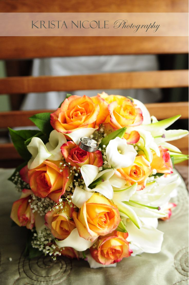 38 best orange bouquet images on pinterest wedding bouquets wedding bouquet of orange yellow and white flowers roses calla lillies babies mightylinksfo