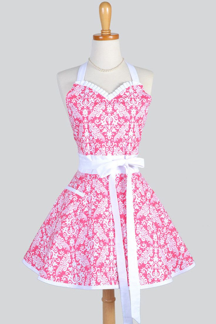 LUCY Sweetheart Pin Up Womans Apron , Spring Raspberry Pink Damask Cute and Flirty Retro Vintage Inspired Kitchen Apron with Pockets by CreativeChics on Etsy https://www.etsy.com/listing/250509154/lucy-sweetheart-pin-up-womans-apron