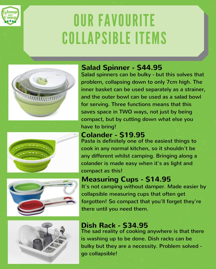 Collapsible items are the best for a camp kitchen! Check out our blog post all about why: http://goo.gl/1dFNu8