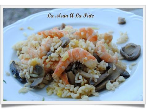 Poêlée de riz aux champignons et aux crevettes - La main à la pâte