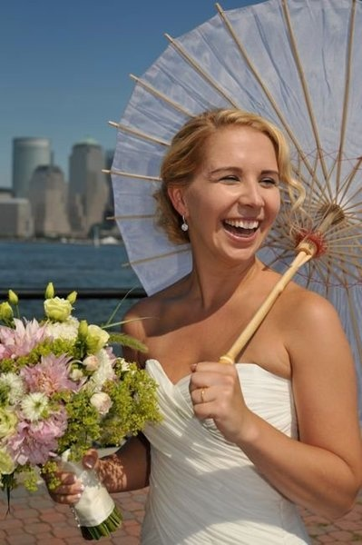 Dress by The Blonds  Bouquet by Baura NY  Hair by Creighton: Ny Hair, Wedding Hairs, Blondes Bouquets