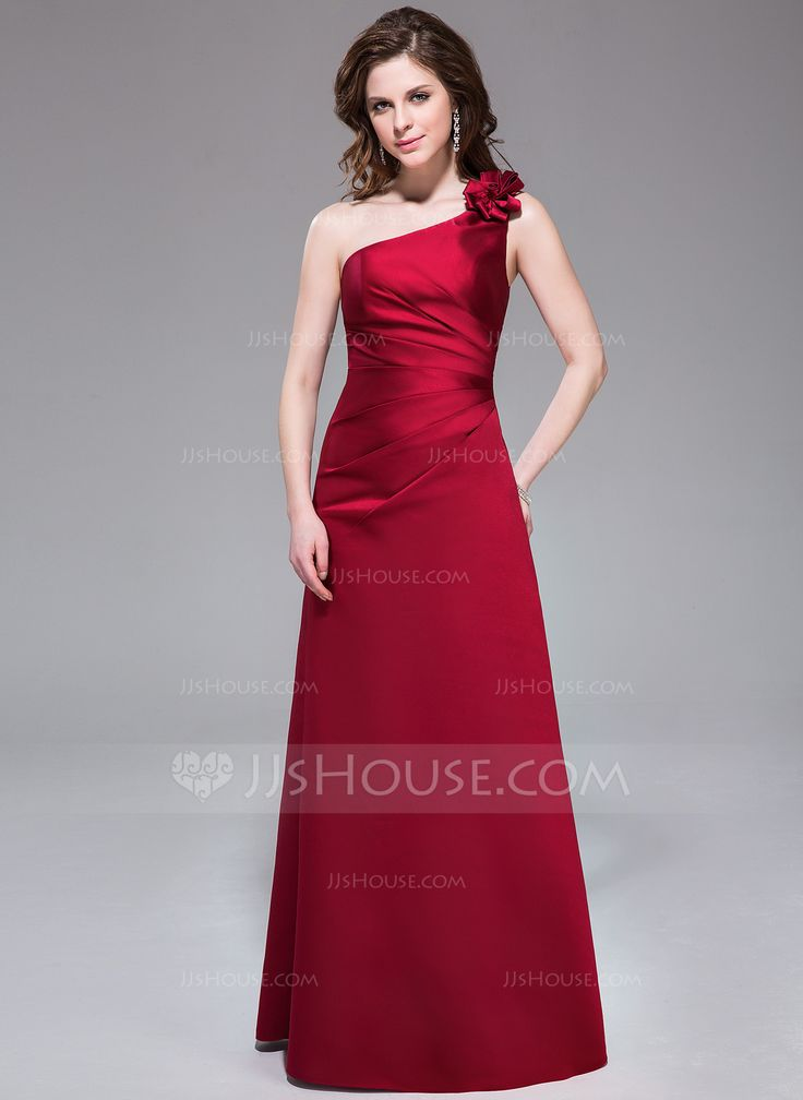 A-Line/Princess One-Shoulder Floor-Length Satin Bridesmaid Dress With Ruffle Flower(s) (007037245) - JJsHouse