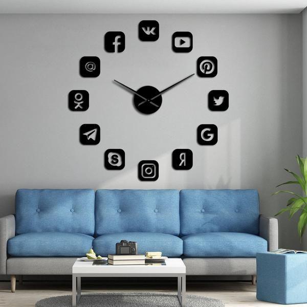 Social Media Symbols Diy Wall Art Giant Wall Clock Office College