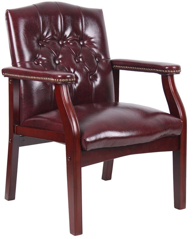 Boss Office Products B959-BY Boss Traditional Oxblood Vinyl Guest Chair W/ Mahogany Finish