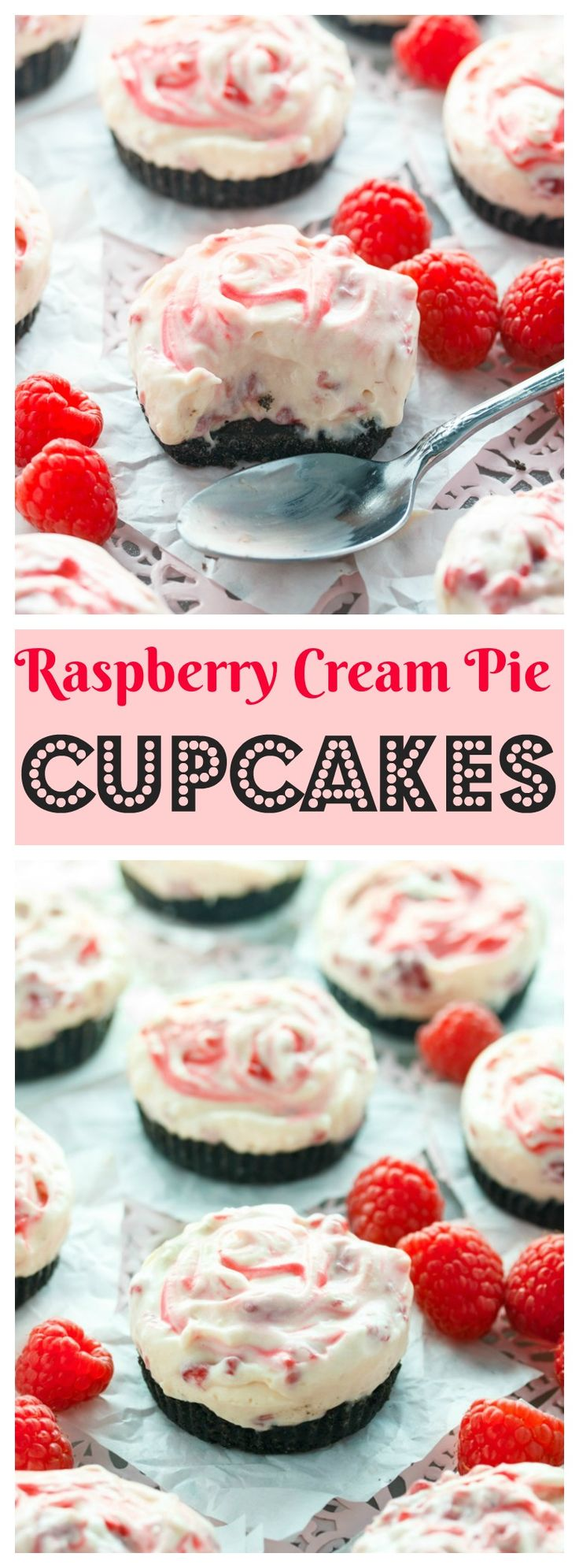 Buttery chocolate crust topped with a sweet and creamy raspberry-swirled filling. This colorful dessert is perfect served as a single pie or as cupcakes!
