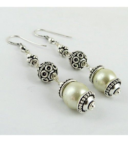 Oxidized Pearl Jhumki 925 Sterling Silver Earring, Weight: 11.2 g, Stone - Pearl, Size - 6.7 x 1.0 cm, Wholesale Orders Acceptable, All Pieces have 925 Stamp