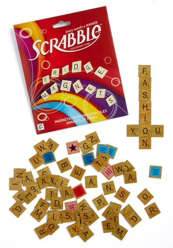 Fridge Magnet Scrabble game.  Kids could use these for a cookie sheet activity :)