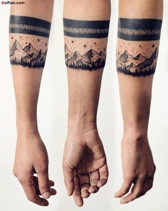 Creative Mountain Armband Men Tattoo On Lower Side