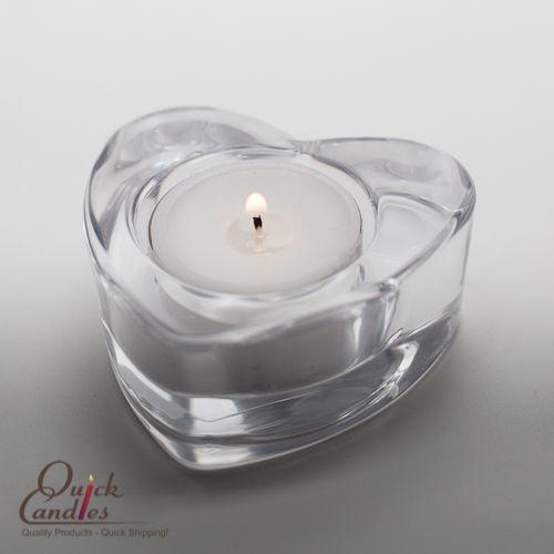 richland modern chunky glass heart tealight candle holder