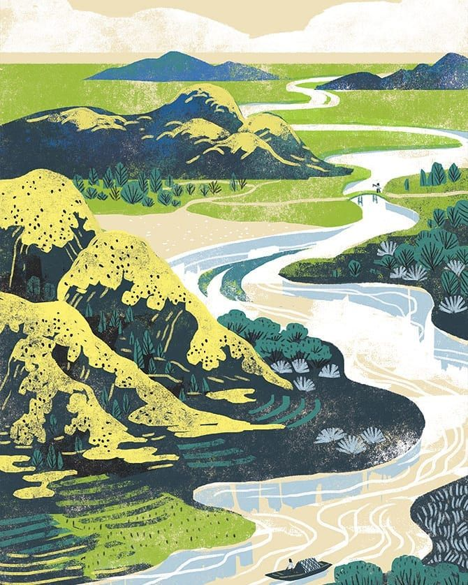 River Qulanillustration Illustration Illustration Best Landscape Mountains Hills Water Illustration Landscape Illustration Mountain Illustration