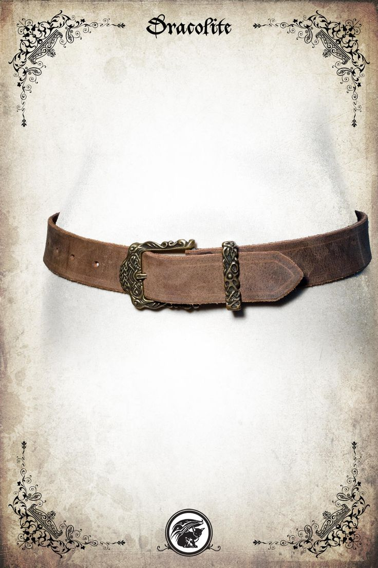 Viking Buckle leather belt for LARP, action roleplaying and cosplay by Dracolite on Etsy