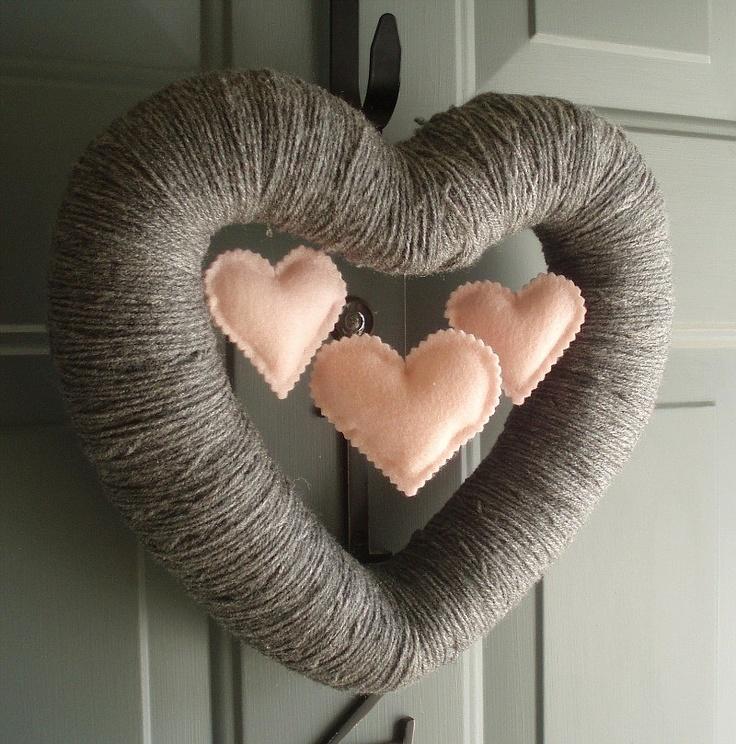 Triple Heart Handmade Front Door Yarn Wreath