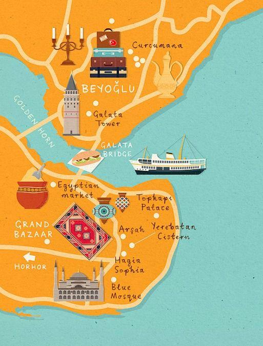 zara picken istanbul map homes and antiques magazine #illustration #inspiration #design