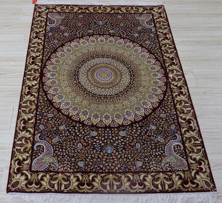 No.2346648, Handmade Silk Carpet. Kpsi 367, Density 230 lines. Size 4'x6' (122cm x 183cm). Real silk, Pure hand-made Origin: Henan China, Zhengzhou Yile Carpet Company. www.ylrug.com, info@ylrug.com, ylrug@126.com.+86-13849180658
