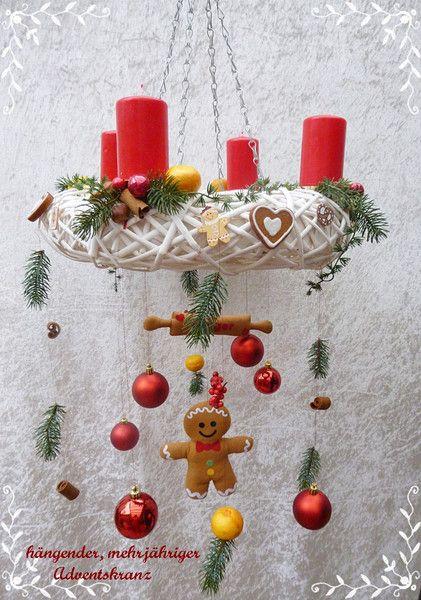 Adventskranz hängend Rebenkranz weiß mit 4 Kerzen von Die Geschenkidee auf DaWanda.com