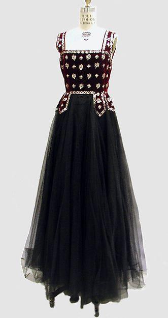 """""""Evening Dress"""" - Lucien Lelong. Date: 1938. Culture: French. Medium: silk, spangles, beads."""