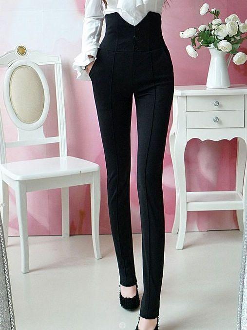 Cool Fresh Succinct Slim High-waist Pant ,fashion , black, close-fitting - $9.50.