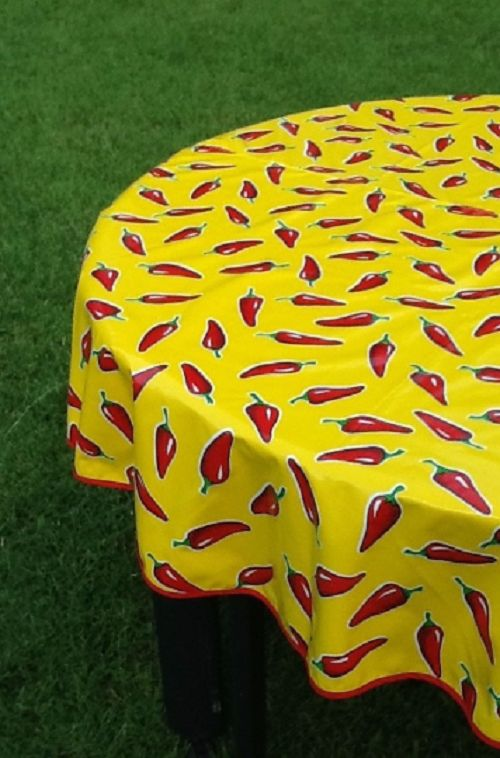 """68"""" Round Oil Cloth Tablecloth ~ YELLOW CHILI PEPPER"""