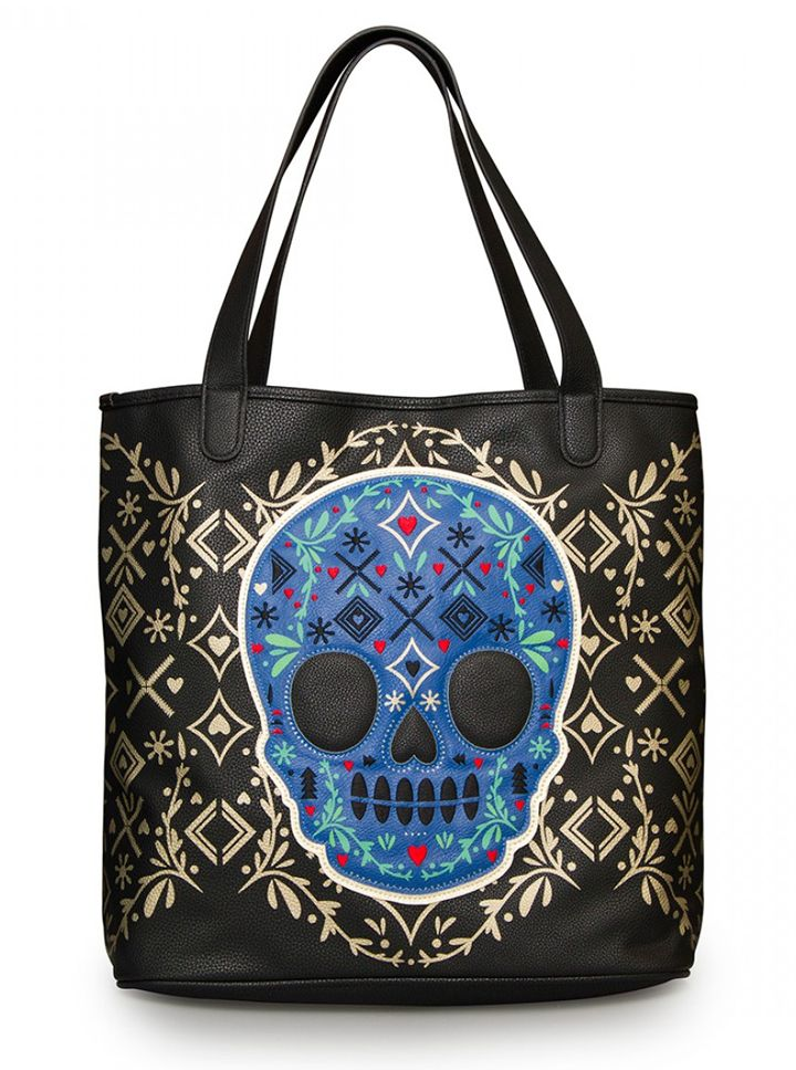 """Skull Detail"" Tote by Loungefly (Black/Gold) #InkedShop #tote #bag #skull #sugarskull"