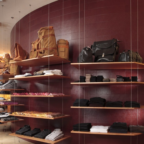 Echelon Collection   Recycled Leather - Retail Feature Walls