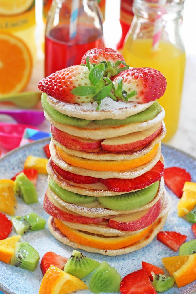 Delicious Rainbow Fruit Pancakes. Perfect for kids and picky eaters! A healthy option for Pancake Day or Shrove Tuesday!