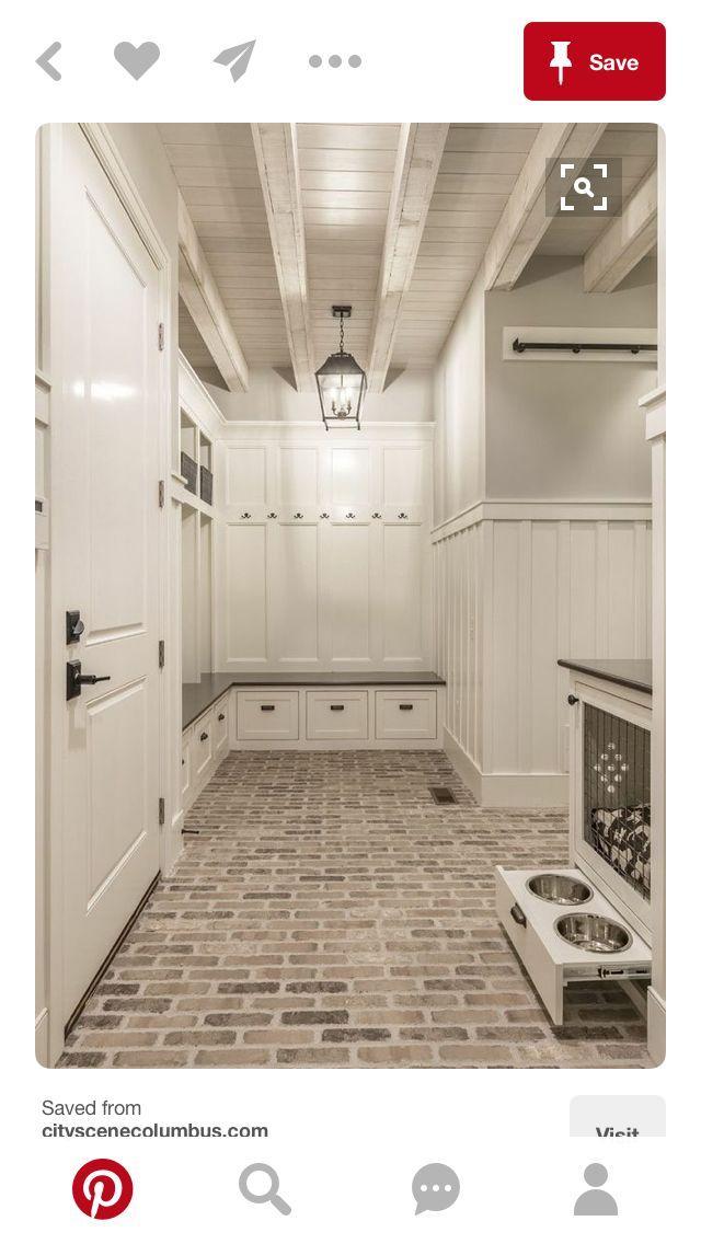 Hidden Dog Bowls Brick Floors Laundry Room Tile Laundry Room