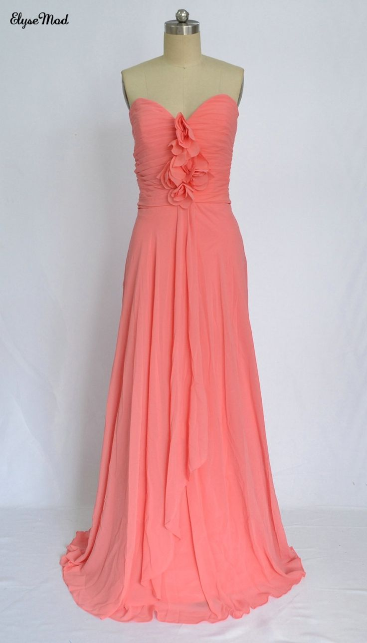 New Style A-Line Sweetheart Coral Bridesmaid Dresses Chiffon Long Pleated Party Dress with Flowers