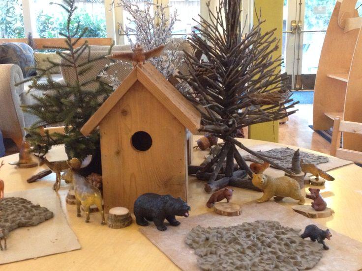Outdoor Classroom Ideas Kindergarten ~ Winter provocation scene forest animals and clay reggio