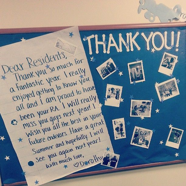 """Cute end of the year bulletin board-- """"Thank you"""" from the RA from #WhatWeCallResLife"""