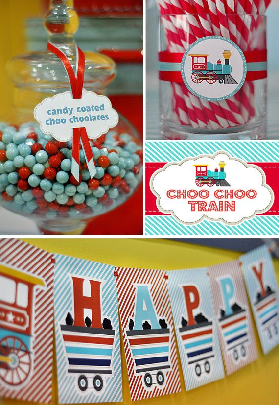 Paquete cumpleaños imprimible DIY  choo choo tren