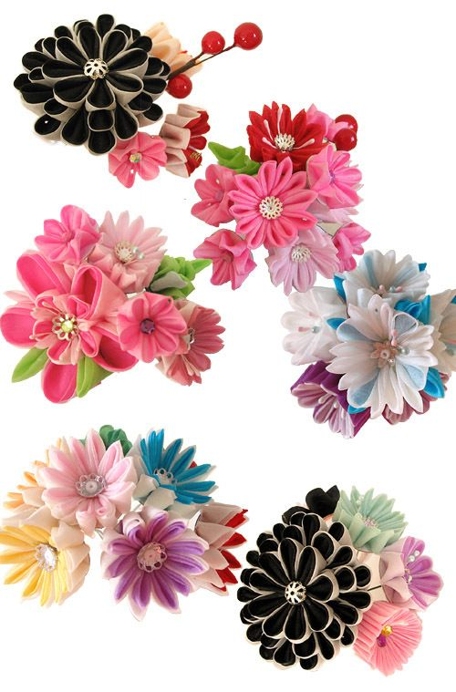 Kanzashi-I love the black and white ones especially