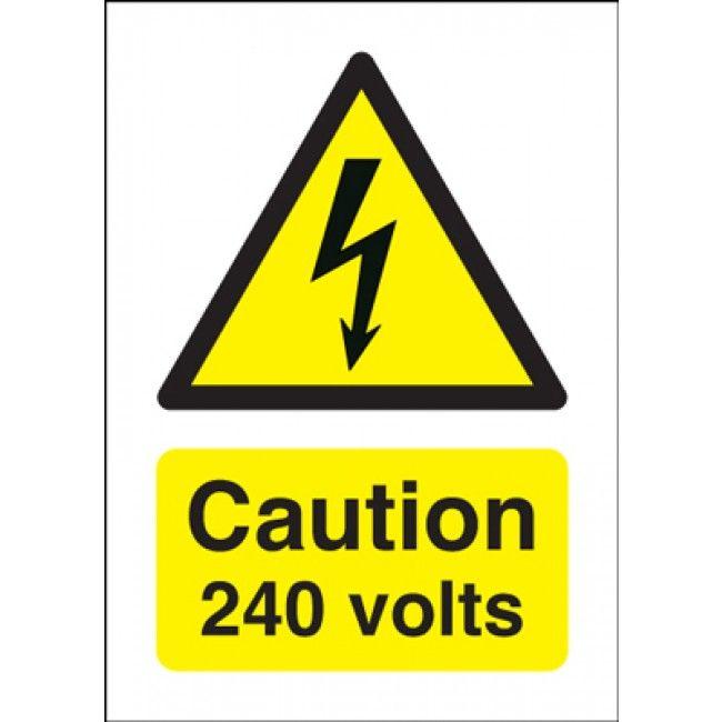 Caution 240 Volts Hazard Warning Signs Znaki