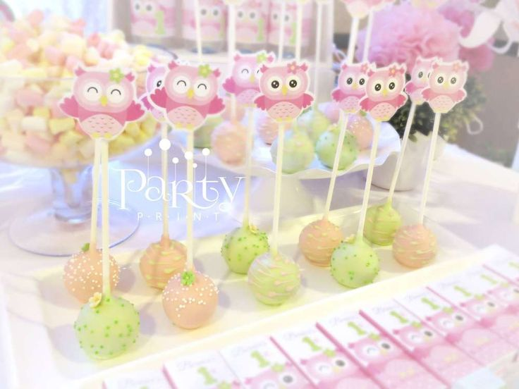 Pink and green cake pops at an owl birthday party! See more party planning ideas at CatchMyParty.com!