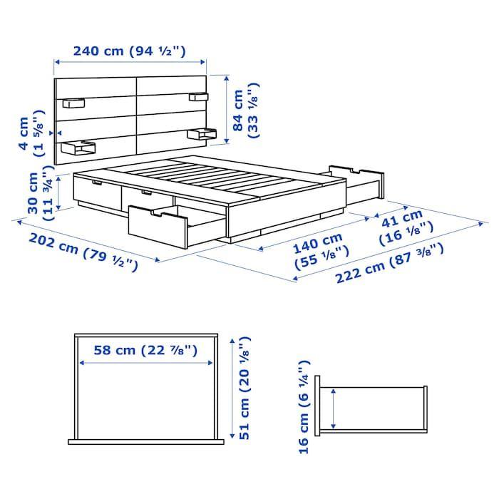 Nordli Estr Cama C Arrum E Cabeceira Branco 140x200 Cm Ikea Projetos De Cama Projetos De Cama De Madeira Cama Com Gavetas
