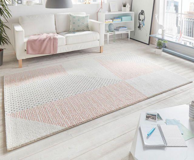 Design Velours Teppich Glaze Creme Rose Pastell mehrfarbig